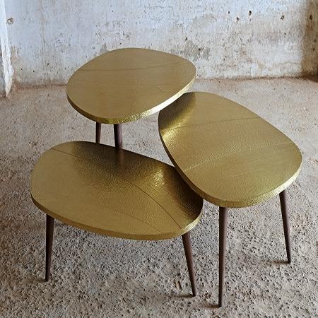 Brass pebble Tabele set